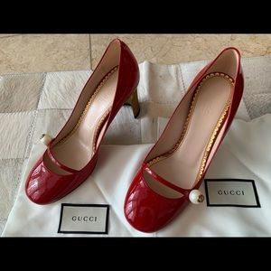 New Gucci Red Mary Janes with Gold Heels